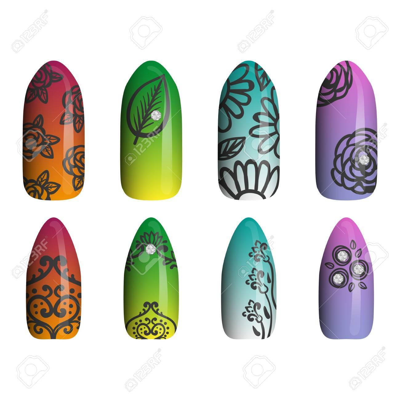 Un Conjunto De Uñas Pintadas De Colores. Manicura. Esmalte De Uñas ...