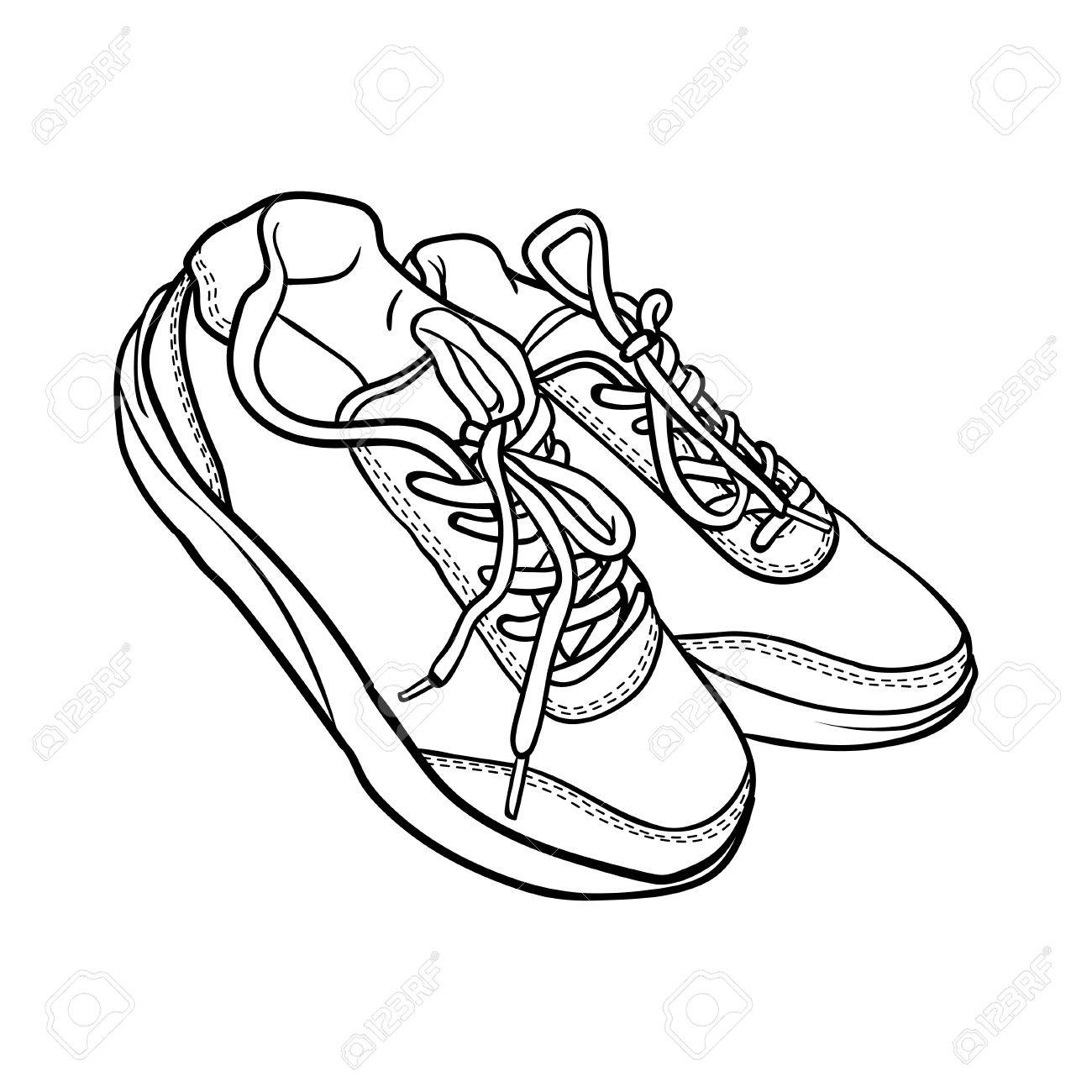 Contour Shoes Cartoon Sneaker Isolated On White