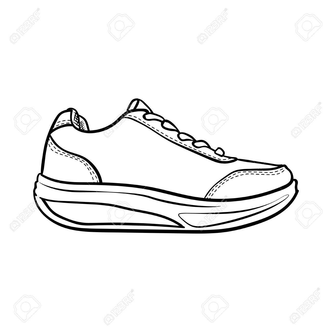 Chaussures contour. sneaker dessin animé isolé sur blanc