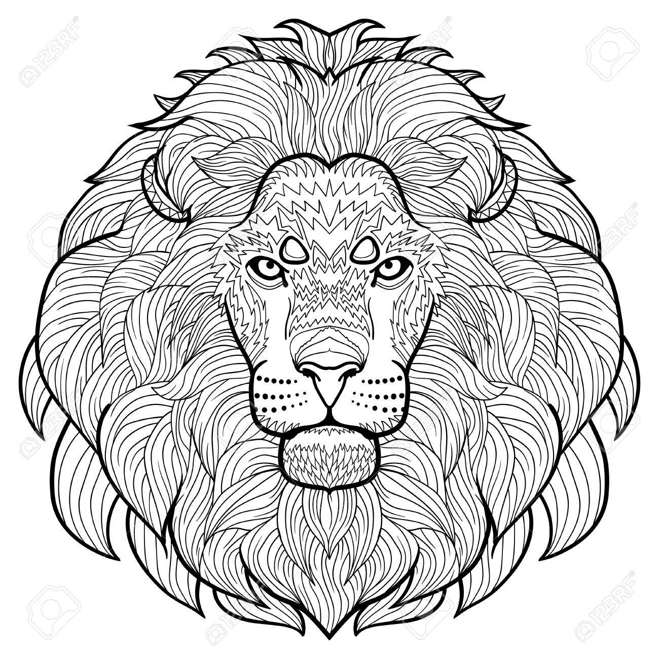 Animal Outline Drawing Anti Stress Coloring In The Head Of Royalty Free Cliparts Vectors And Stock Illustration Image 57040790 See more ideas about lion drawing simple, lion drawing, lion face drawing. animal outline drawing anti stress coloring in the head of
