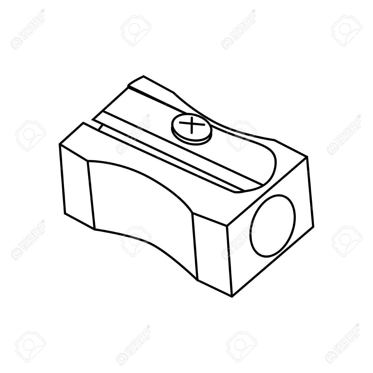 Contour Objects Stationery Pencil Sharpener Isoleted On White Stock Vector