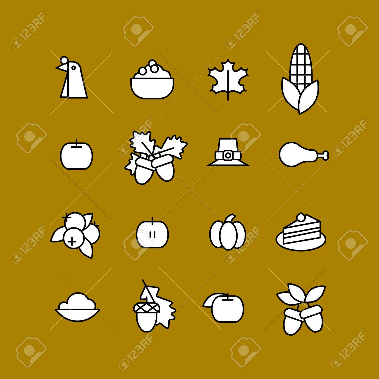 Set Of Abstract Thanksgiving Day Icon Holiday Symbols Royalty Free