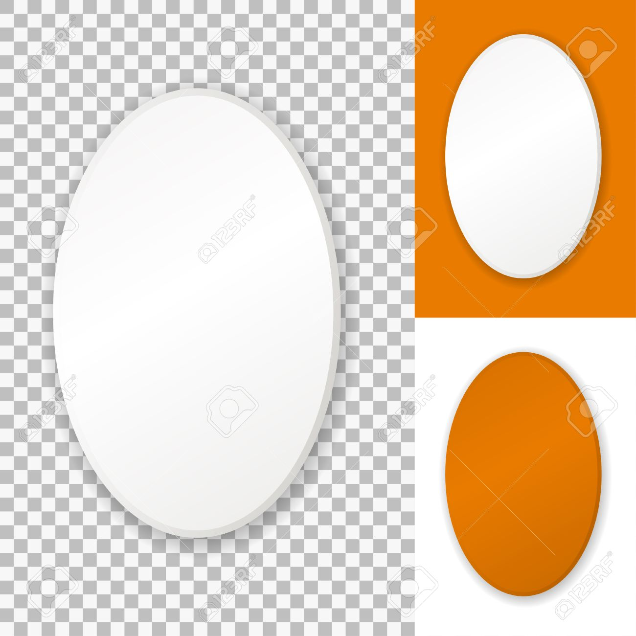 Vector Oval Frame, Isolated On Transparent Background, White ...