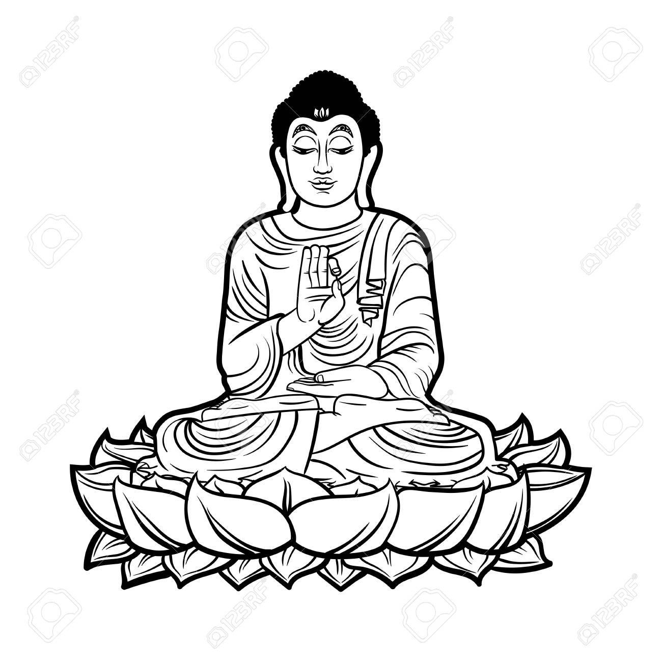 Buddha isolated on white esoteric vintage illustration indian