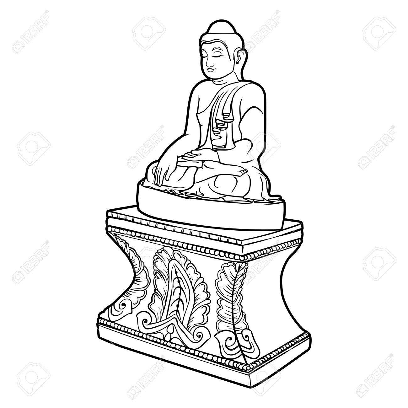 Bouddha Isole Sur Blanc Illustration Vintage Eoterique Indien