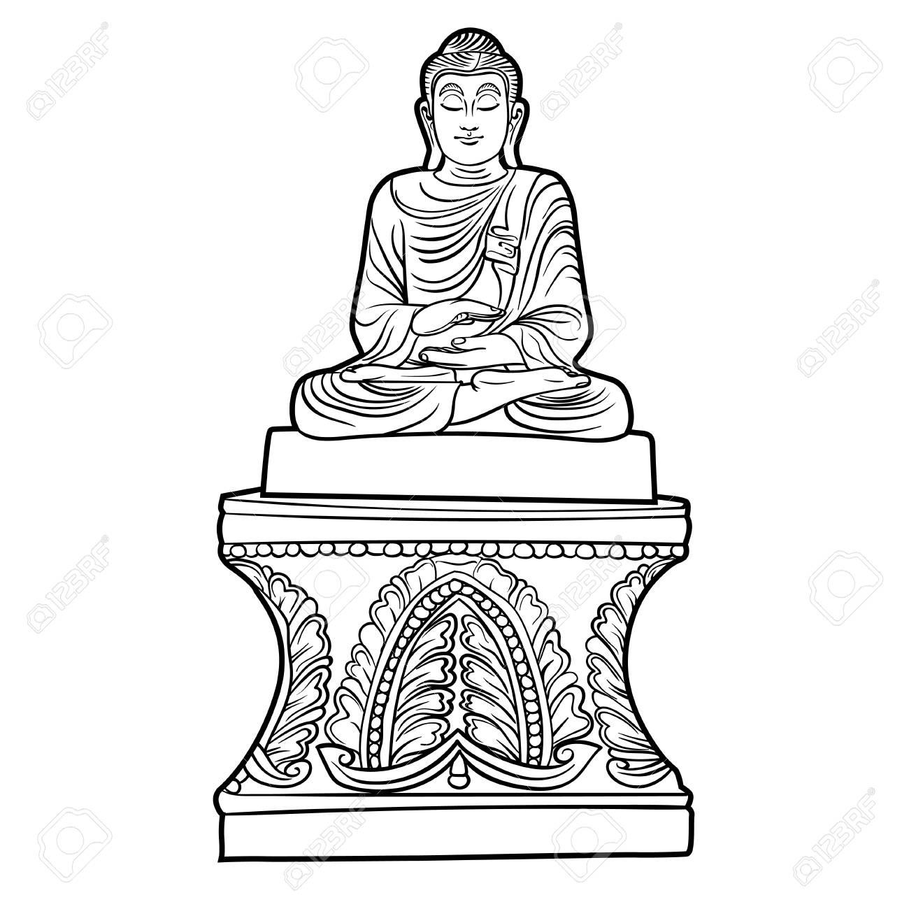 8834a7ff80272 Buddha isolated on white. Esoteric vintage illustration. Indian, Buddhism,  spiritual art.