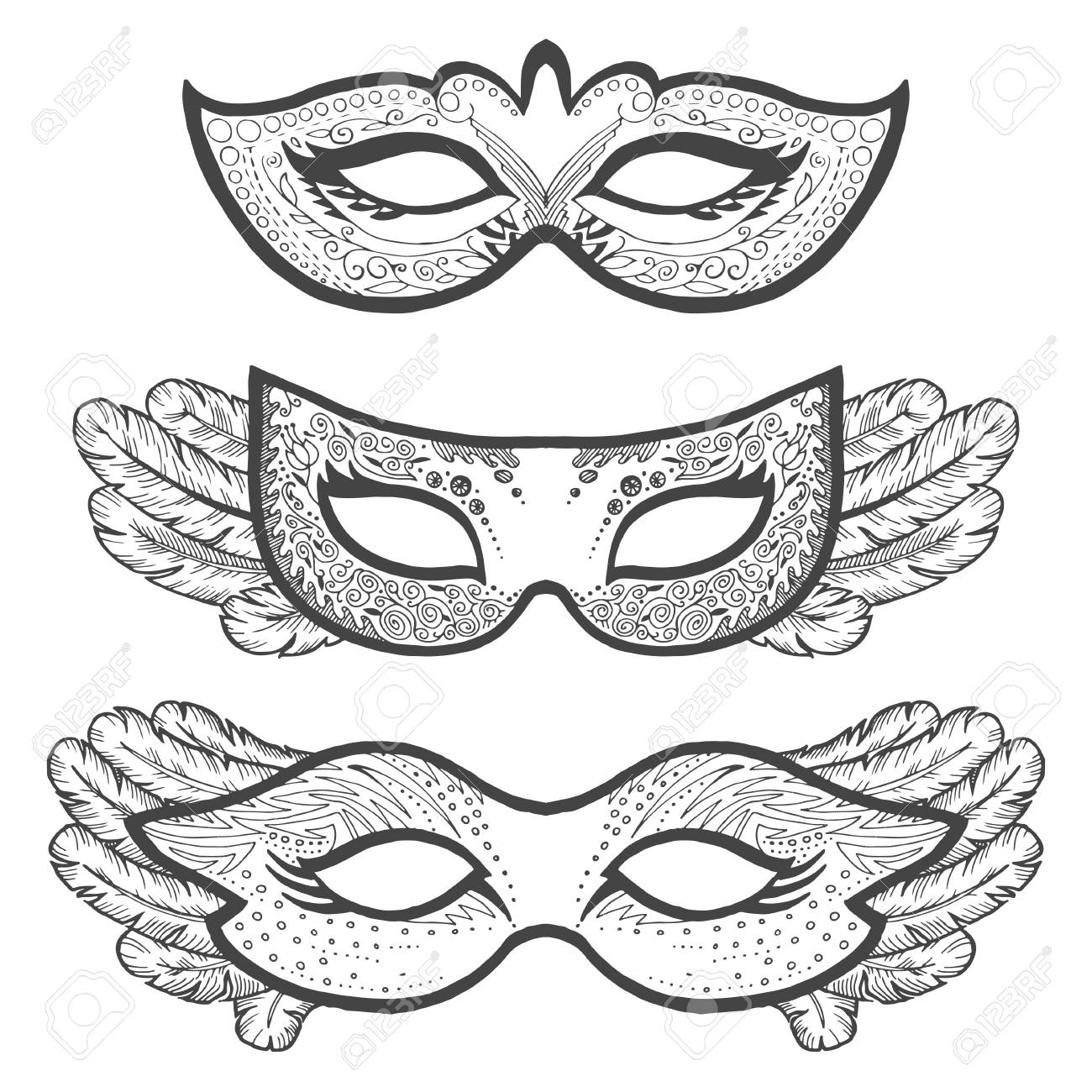 Conjunto De Máscaras De Contorno De Mascarada, Contorno Para ...