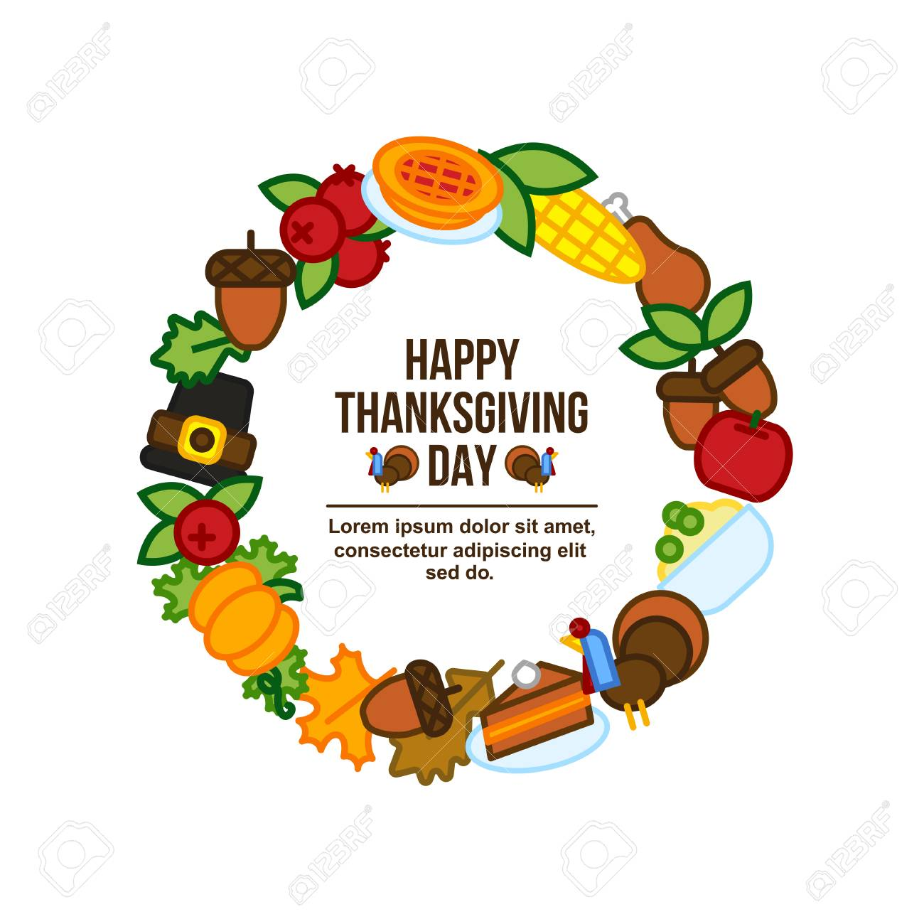 Frame With Abstract Thanksgiving Day Icon Holiday Symbols Royalty