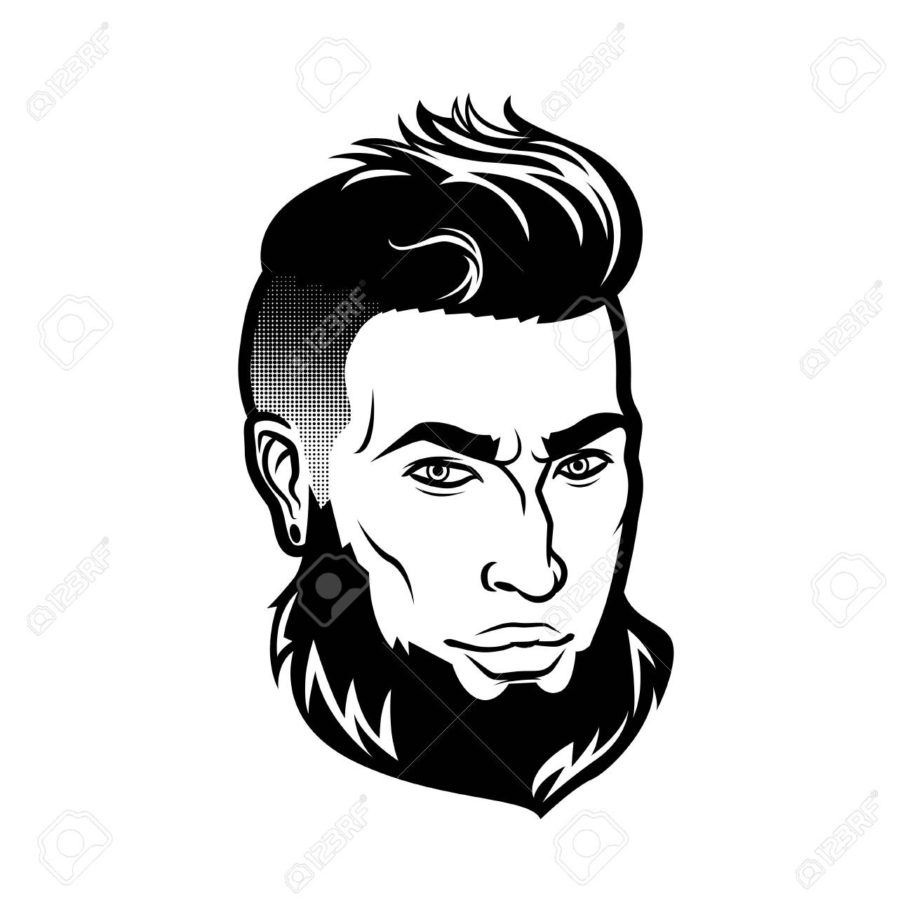 Vector Bearded Men Face Hipster Head With Haircuts Mustaches
