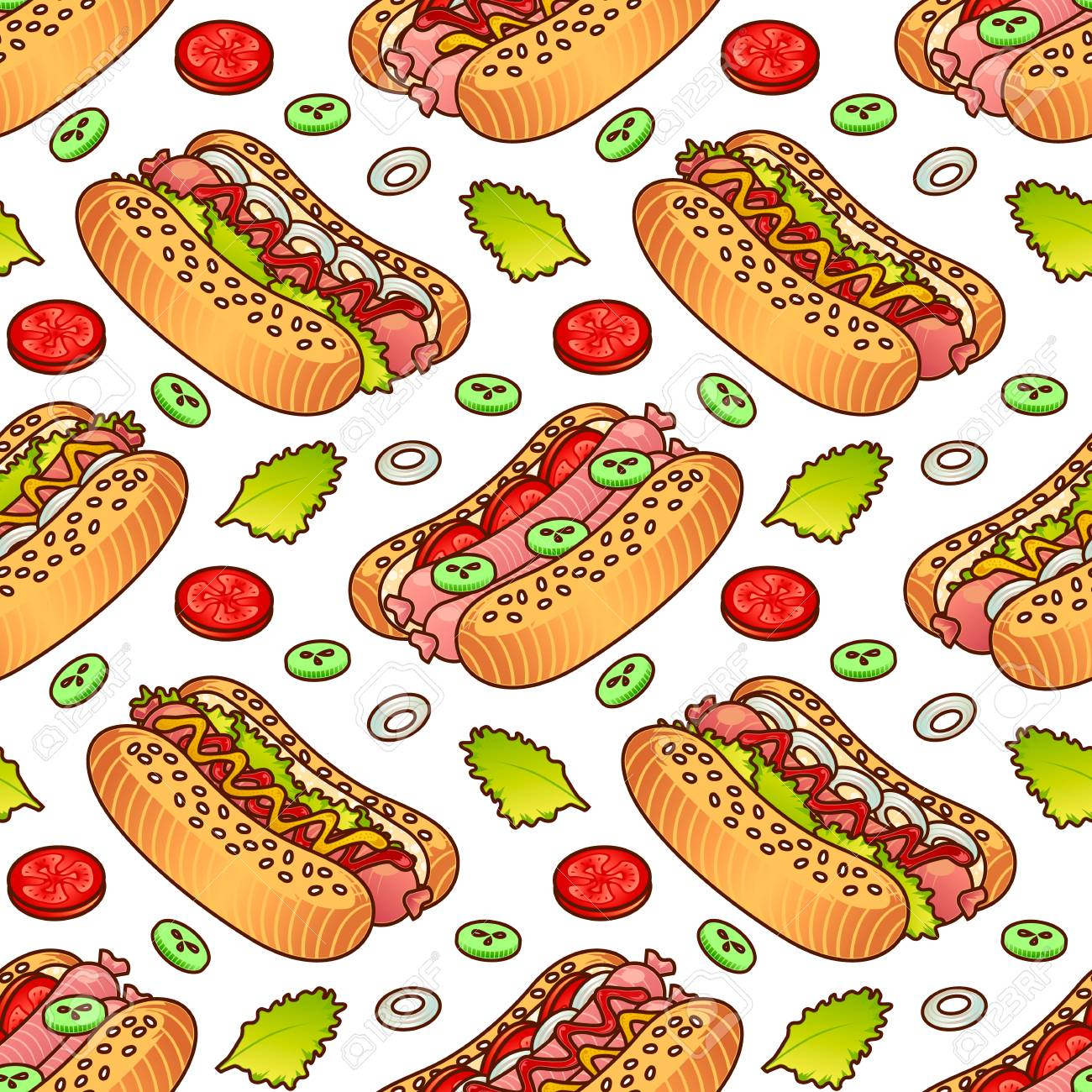 Food Seamless Vector Pattern With Hot Dog For Girls Boys Clothes