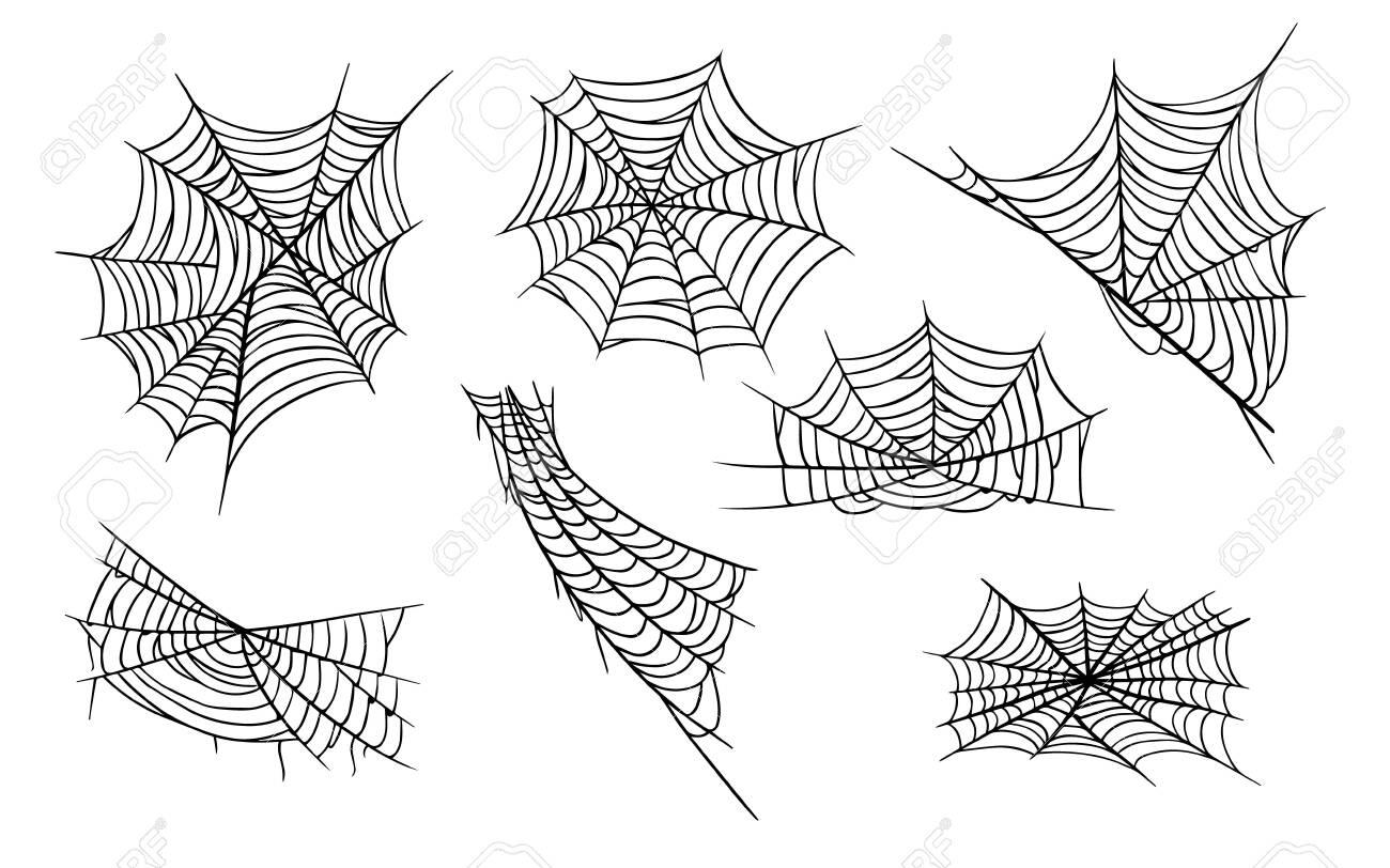 Spider web hand drawn monochrome illustrations set - 131771542