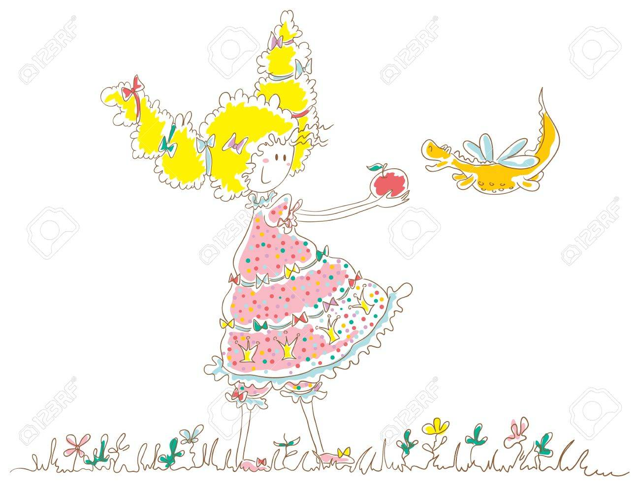 Girl holding out apple to dragon. The girl has thick hair tied with ribbons. Little dragon with wings like a dragonfly. Stock Vector - 17719858