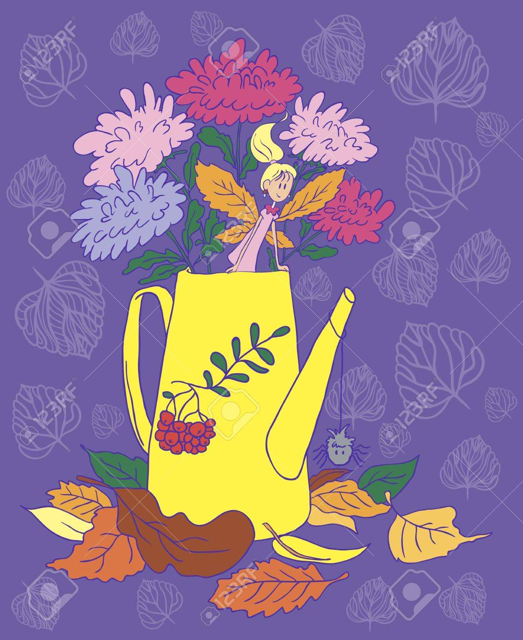 Watering can with flowers  Lying autumn leaves  Little Autumn Fairy Stock Vector - 21706384