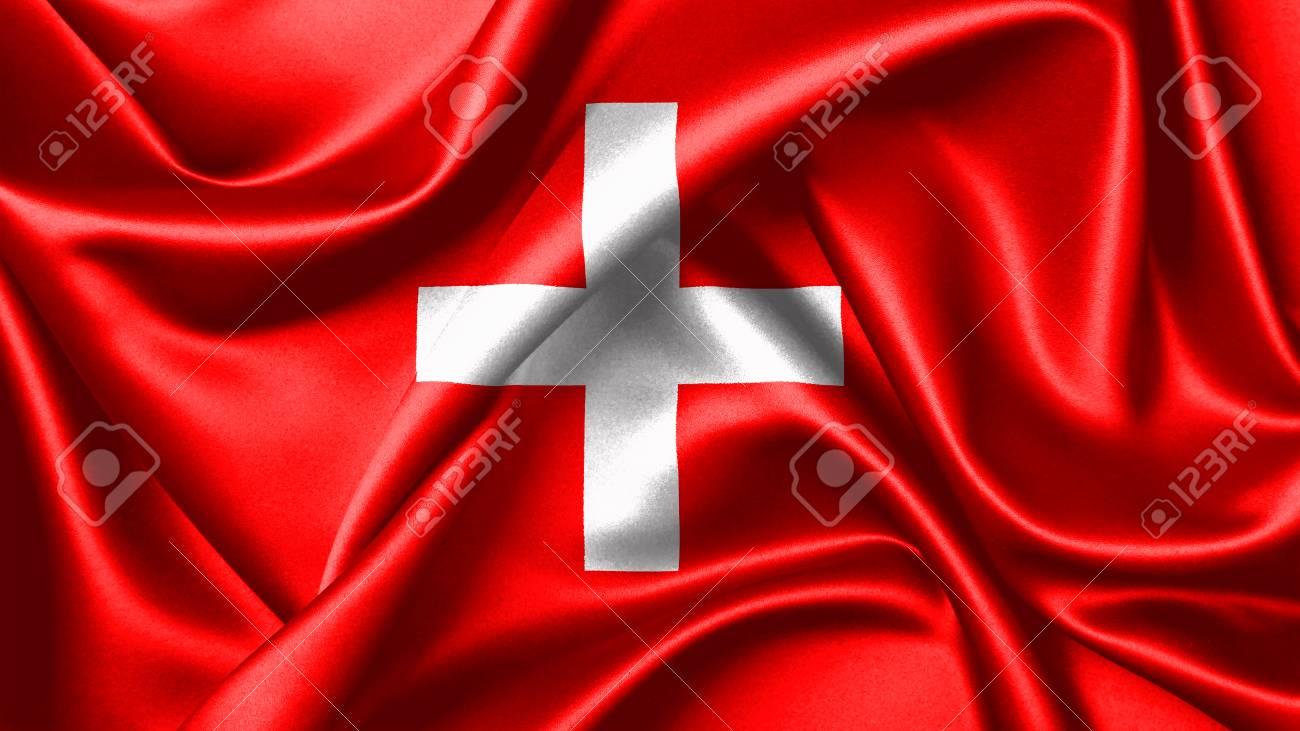 Bandiera Di Rendering 3d Della Svizzera è Costituito Da Una Bandiera Rossa Con Una Croce Bianca Al Centro