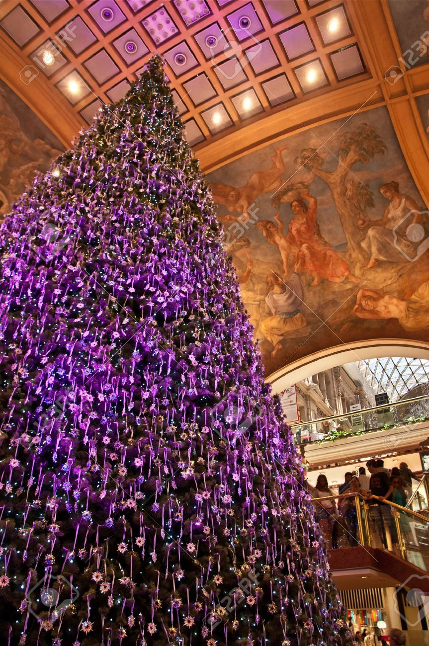 Purple decorated christmas trees - A Christmas Tree Decorated In Purple In Buenos Aires Argentina Stock Photo 13204352