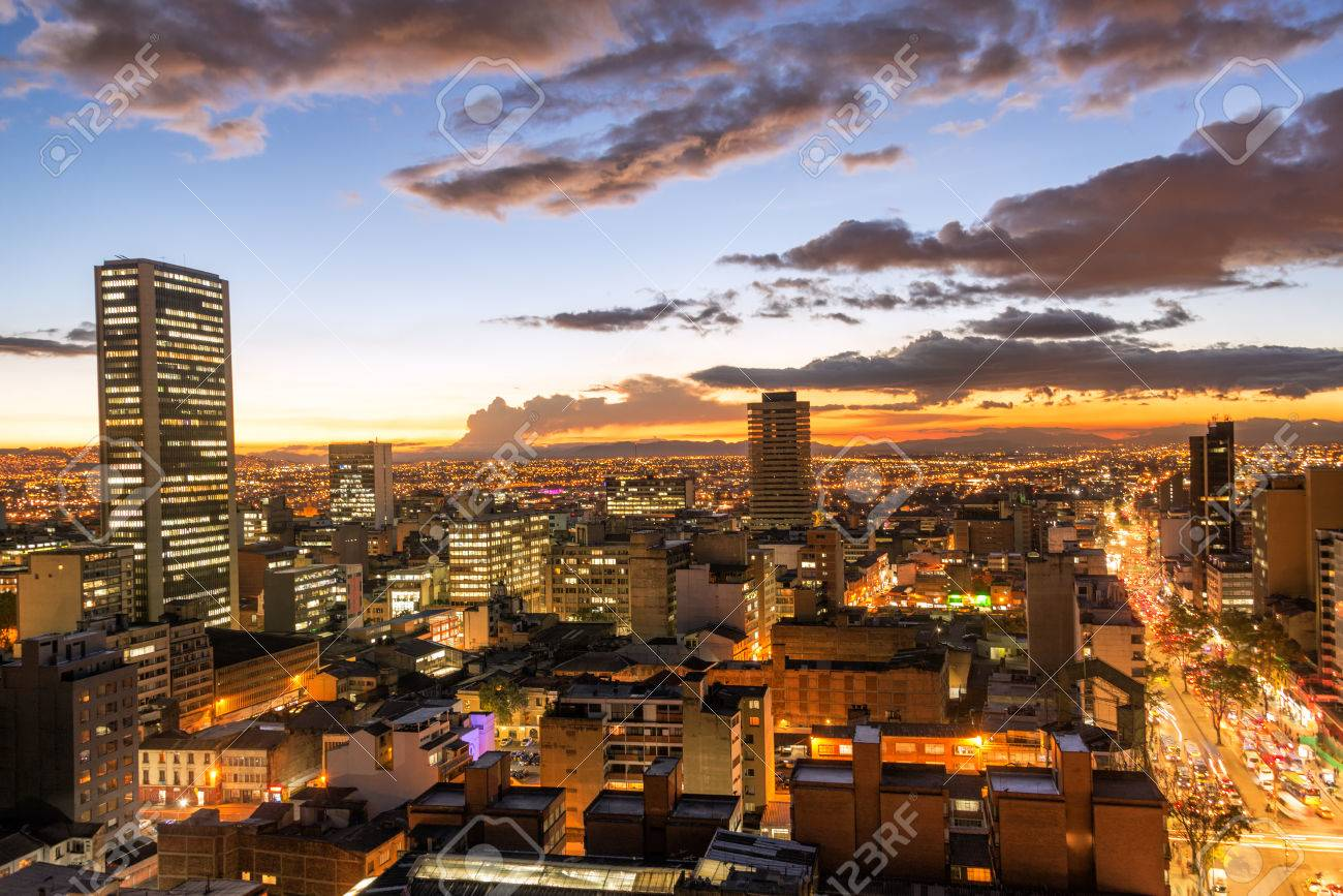 view of downtown bogota colombia at dusk stock photo picture and