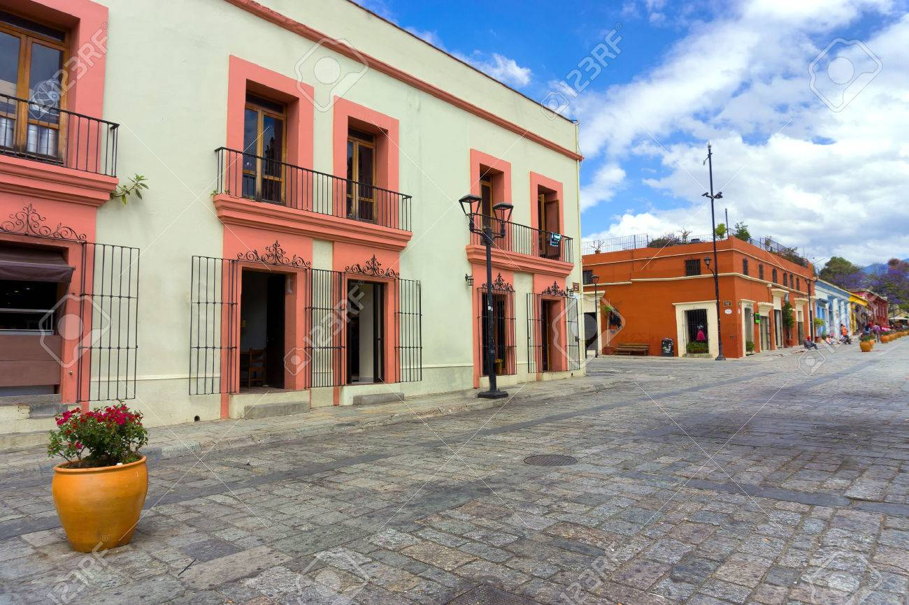Colonial Architecture In Downtown Oaxaca Mexico Stock Photo