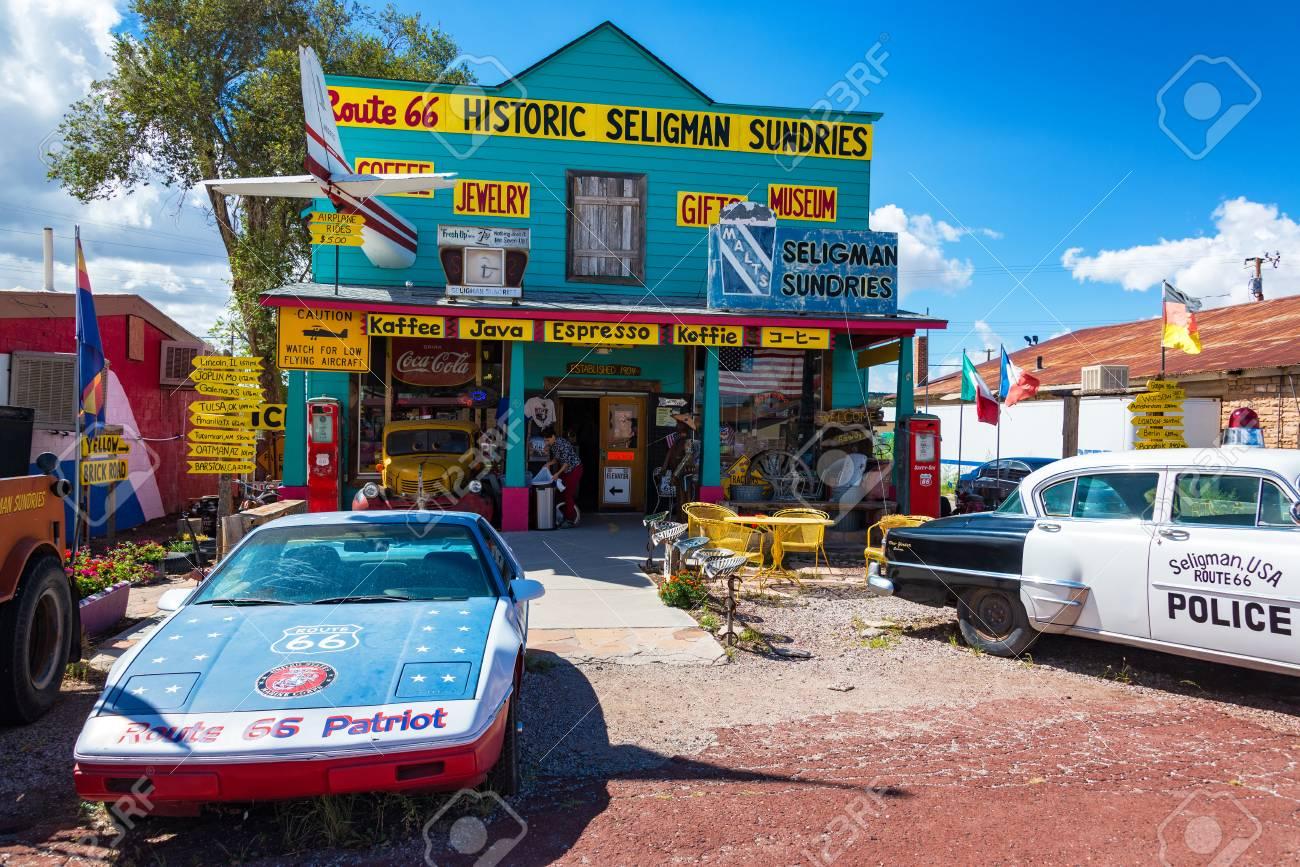 seligman, az - september 16: historic shop on route 66 in seligman