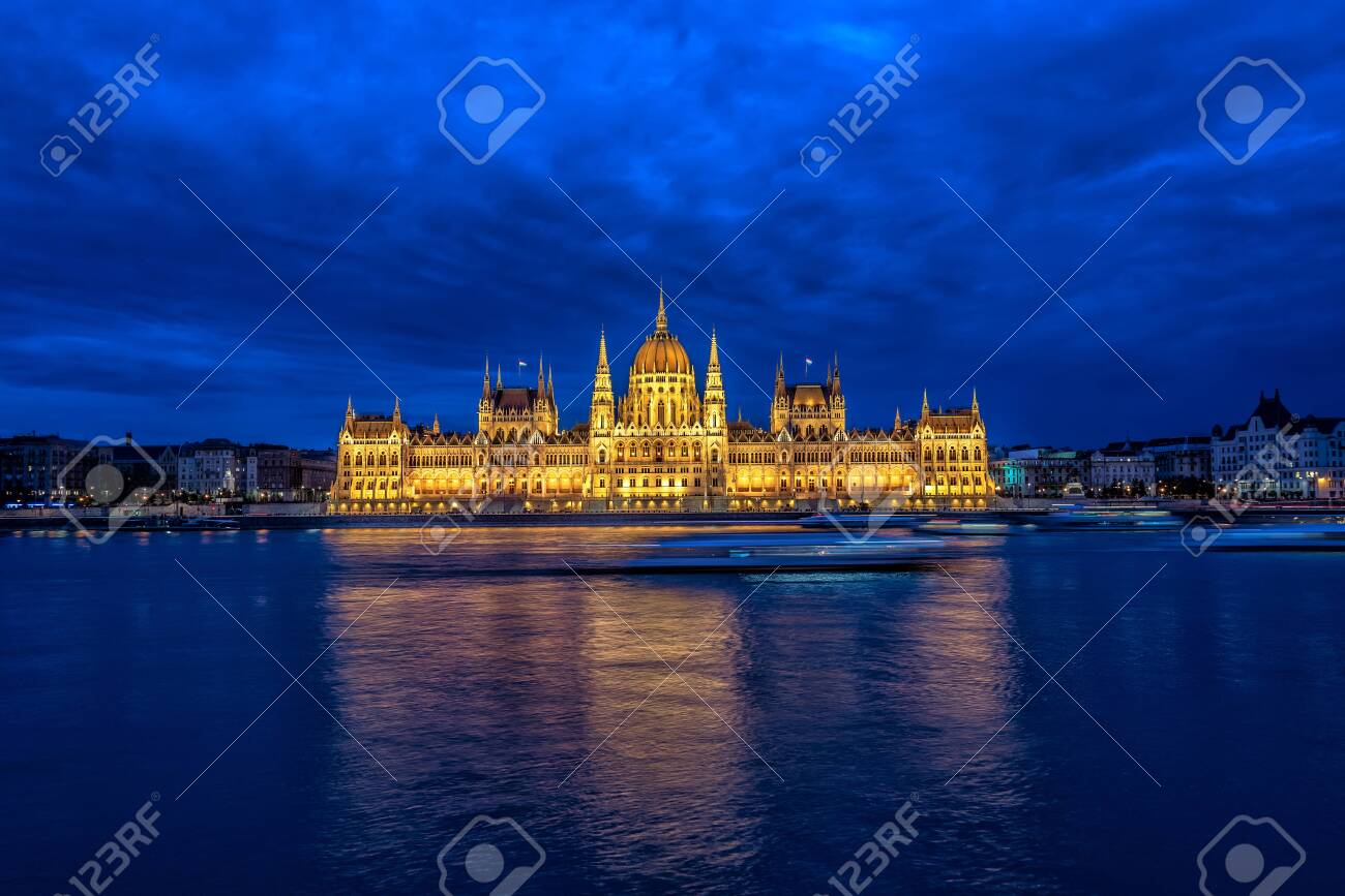 View of the Hungarian Parliament and the Danube River during the blue hour in Budapest, Hungary - 133342289