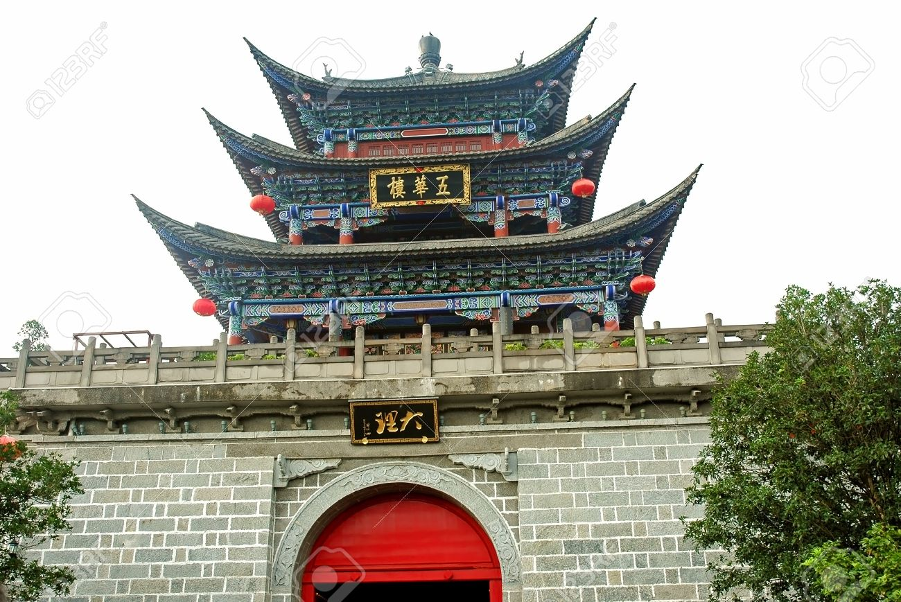 chinese style castle main entrance and guard tower stock photo