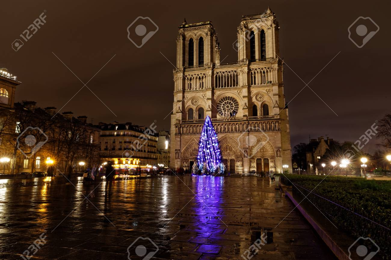 Paris, France - December 7, 2017: Christmas Tree In Front Of.. Stock ...