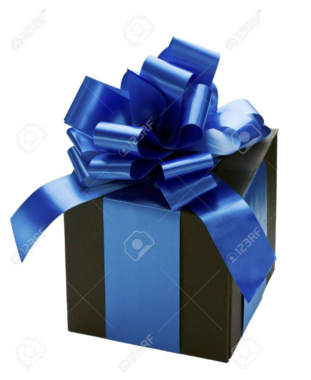 black gift box with blue ribbon bow on white stock photo 9969774