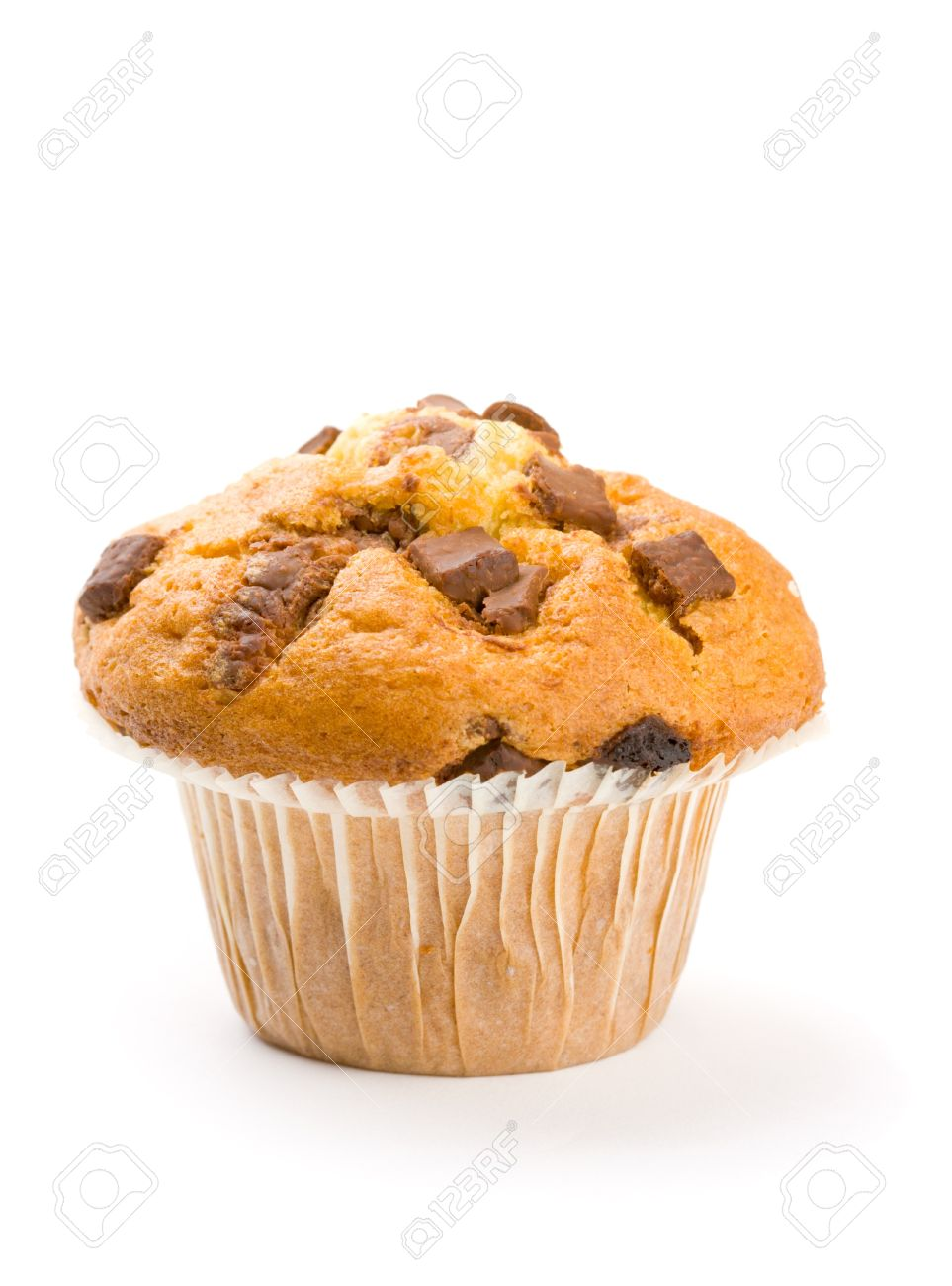 Chocolate Chip Muffin Focus On Front Chocolate Chips Stock Photo ...
