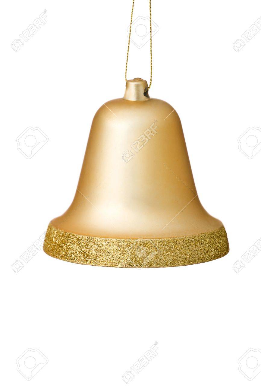 Bell christmas ornament - Gold Christmas Bell Ornament Hanging With Gold Glitter Surrounding The Bottom Edge Stock Photo 15352423