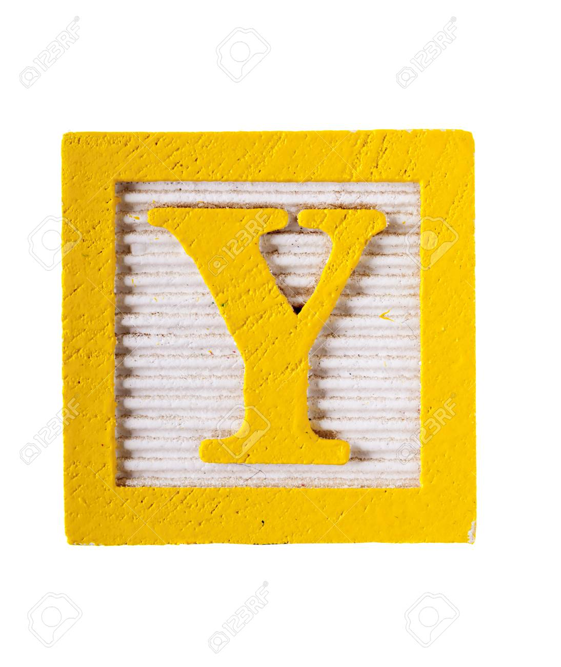 Wooden Alphabet Block With Letter Y Block Isolated On White Stock