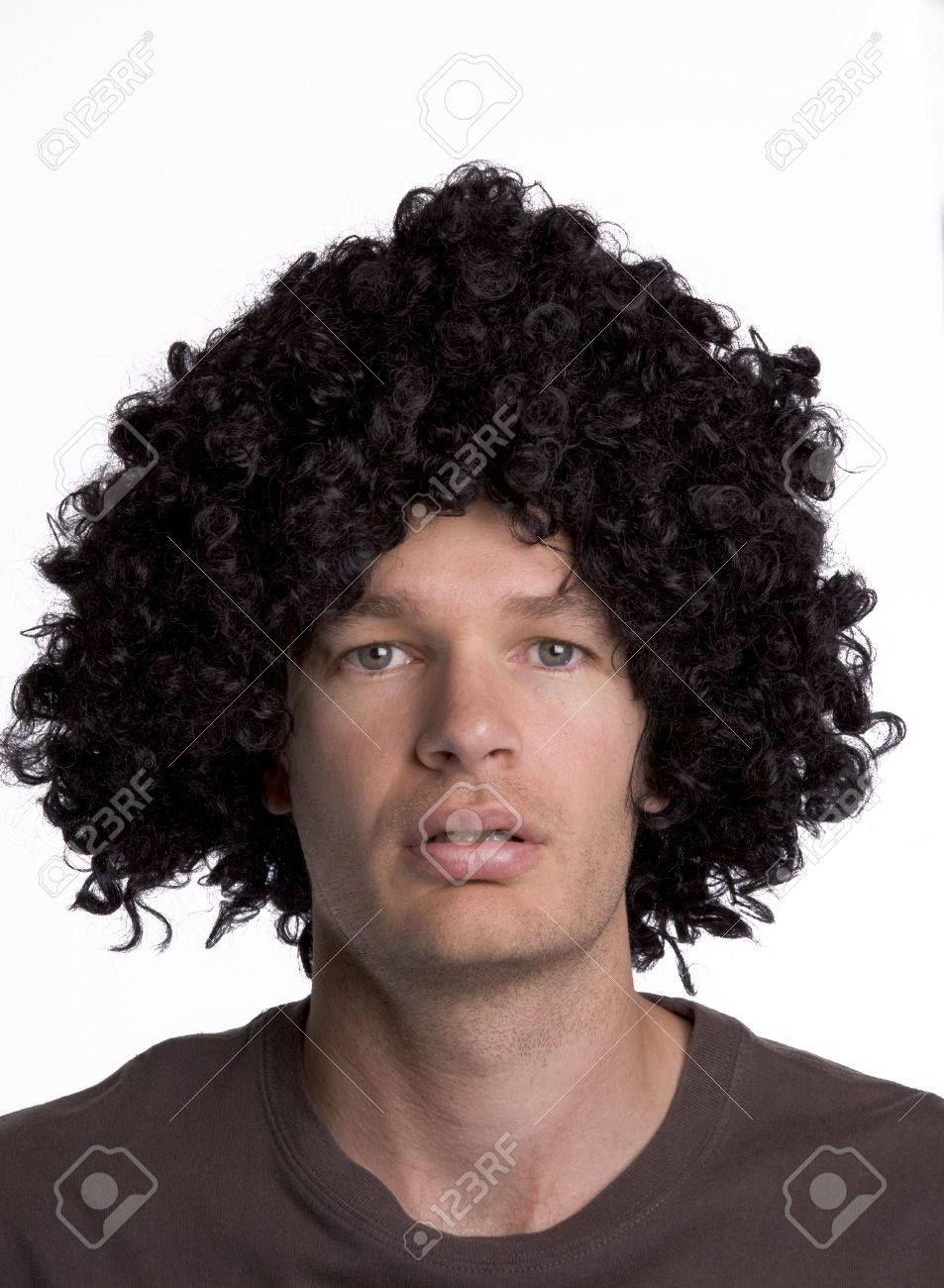 Man with a black curly wig Stock Photo - 6446506 d273fd3ff