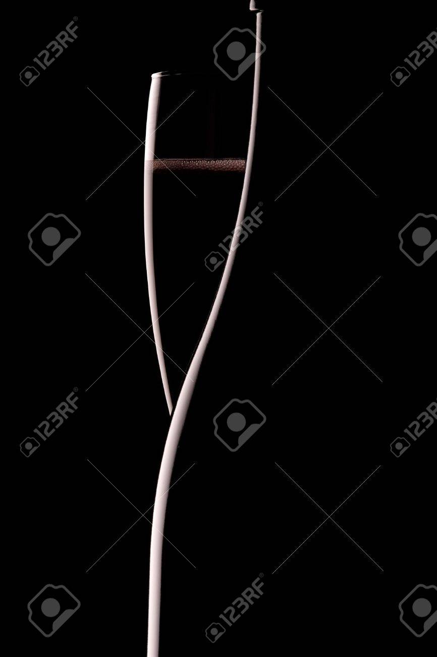 Silhouette of a champagne bottle with glass of bubbly Stock Photo - 6573164