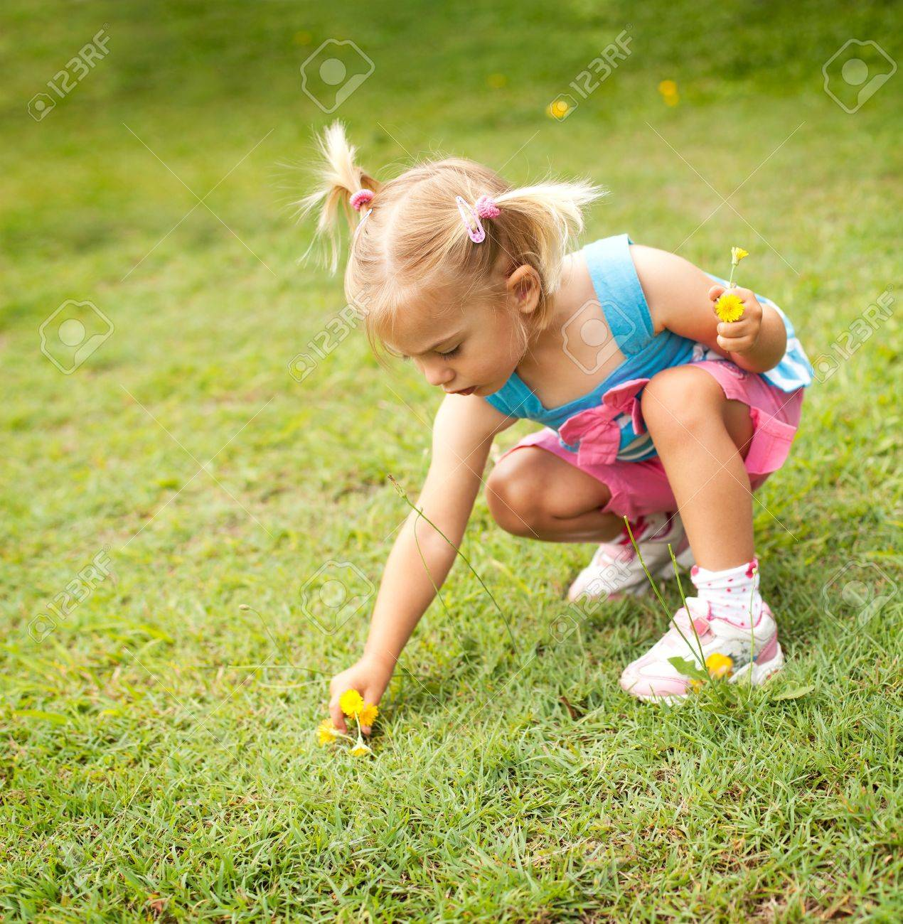 Little girl picking some yellow flowers in the garden Stock Photo - 12890974