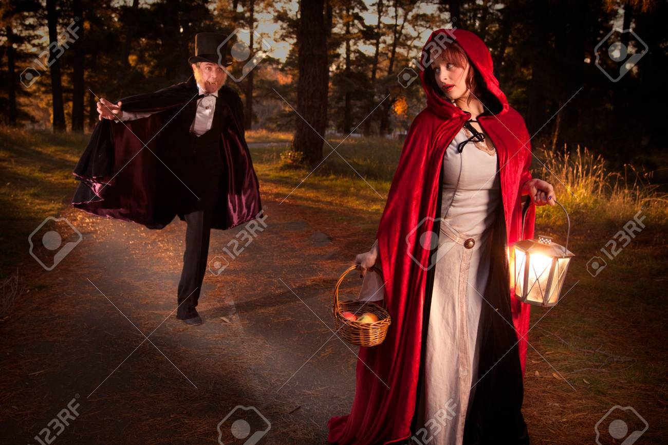 Red riding hood being chased by the big bad wold Stock Photo - 14233365