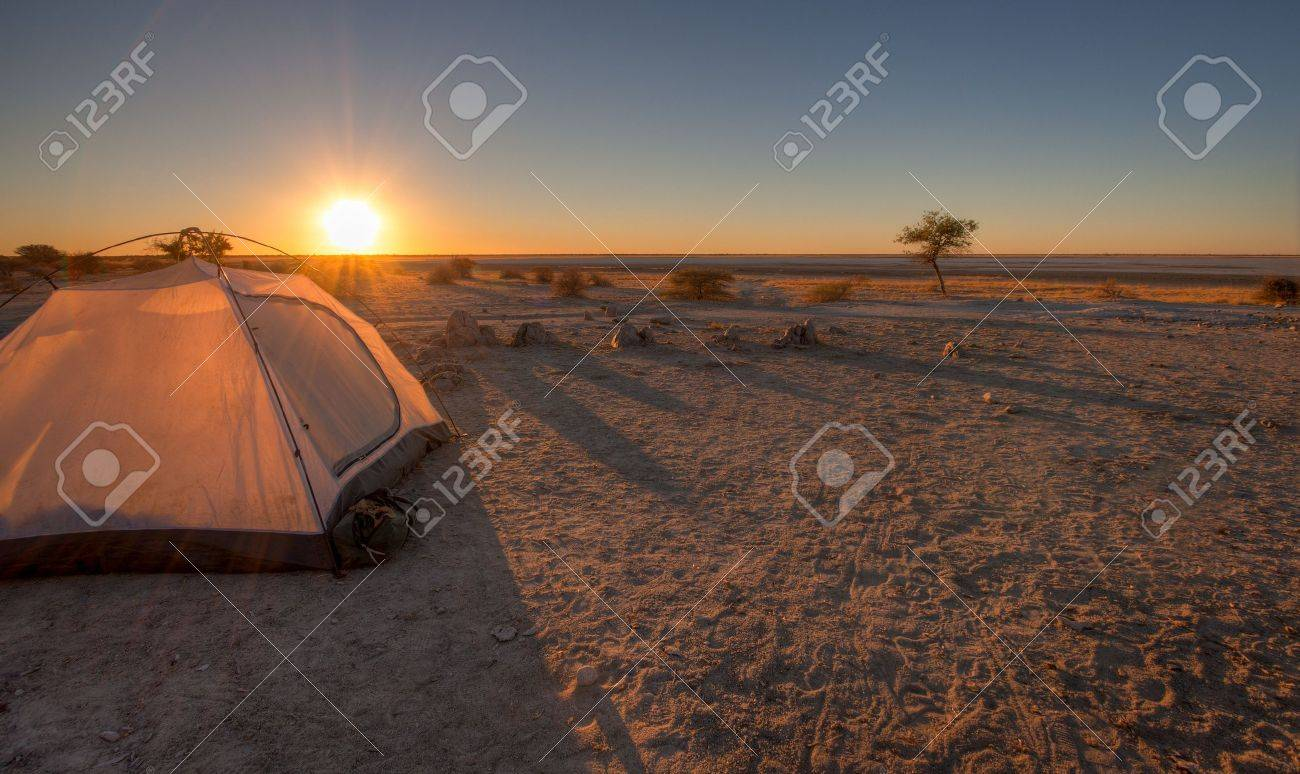 A tent pitched overlooking the makgadikgadi pans Stock Photo - 14782803