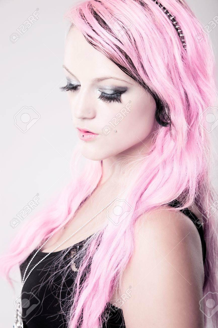 A splash of pink - girl with pink hair - 17903748