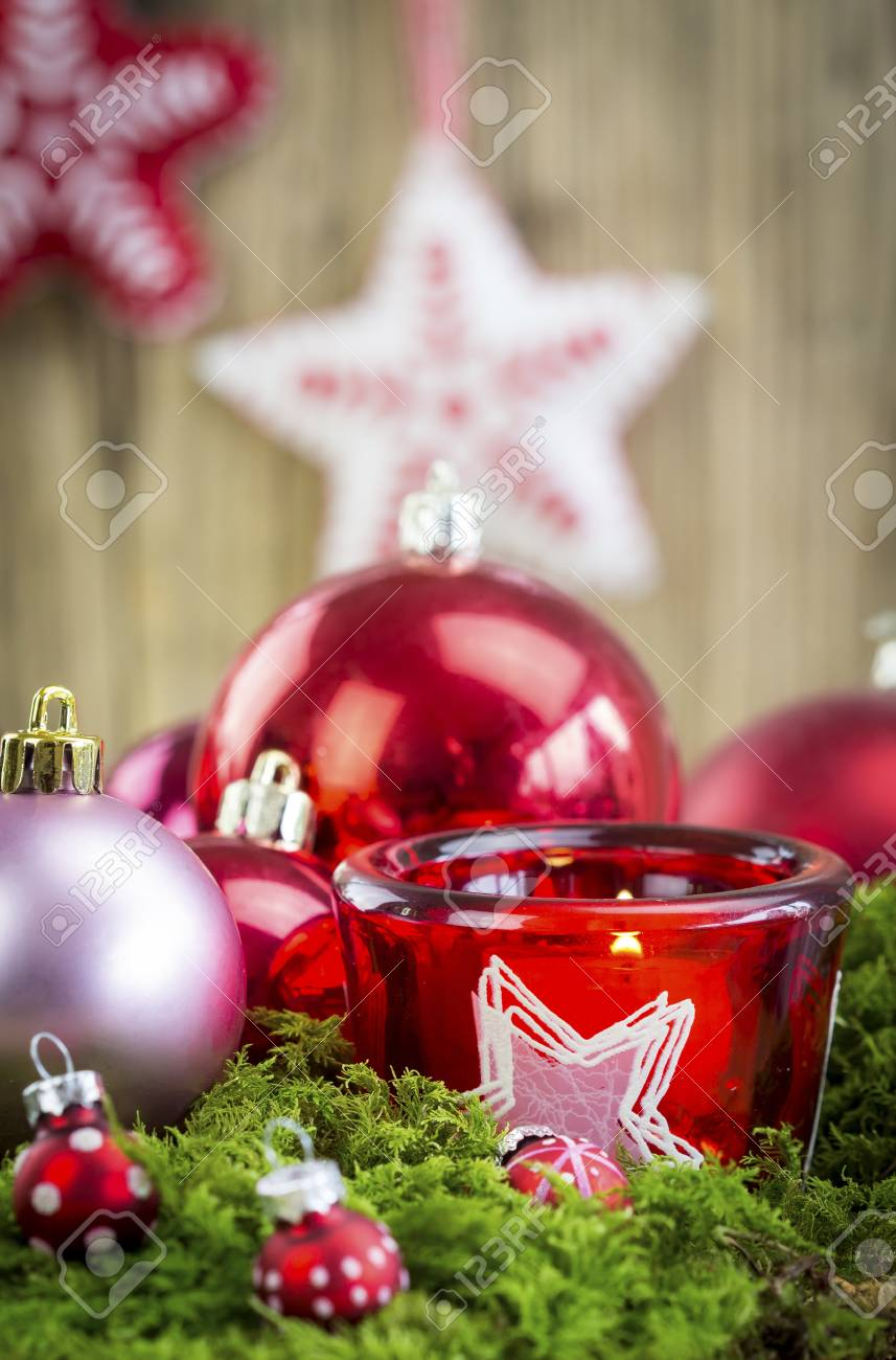 christmas themed background image with red and silver decorations