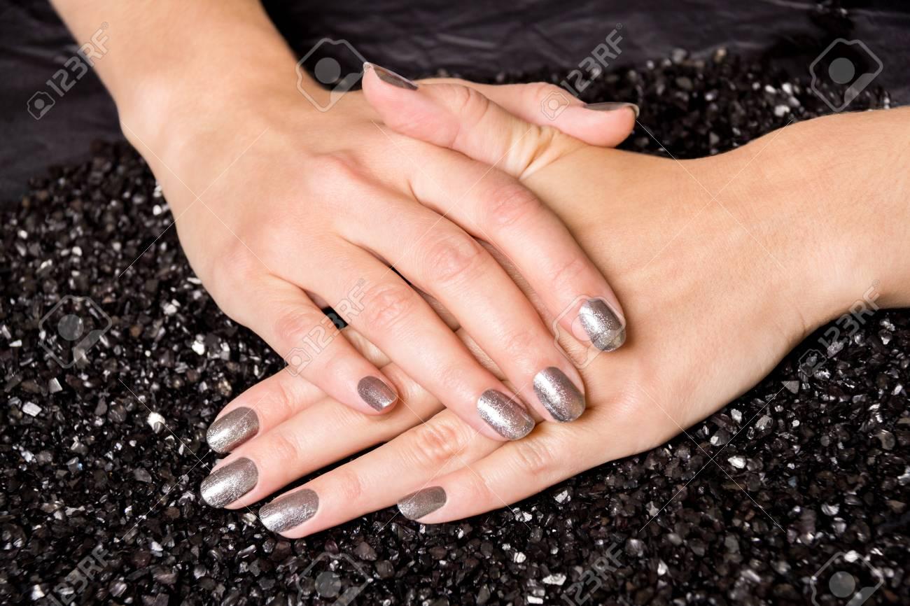 Black Painted Fingernails