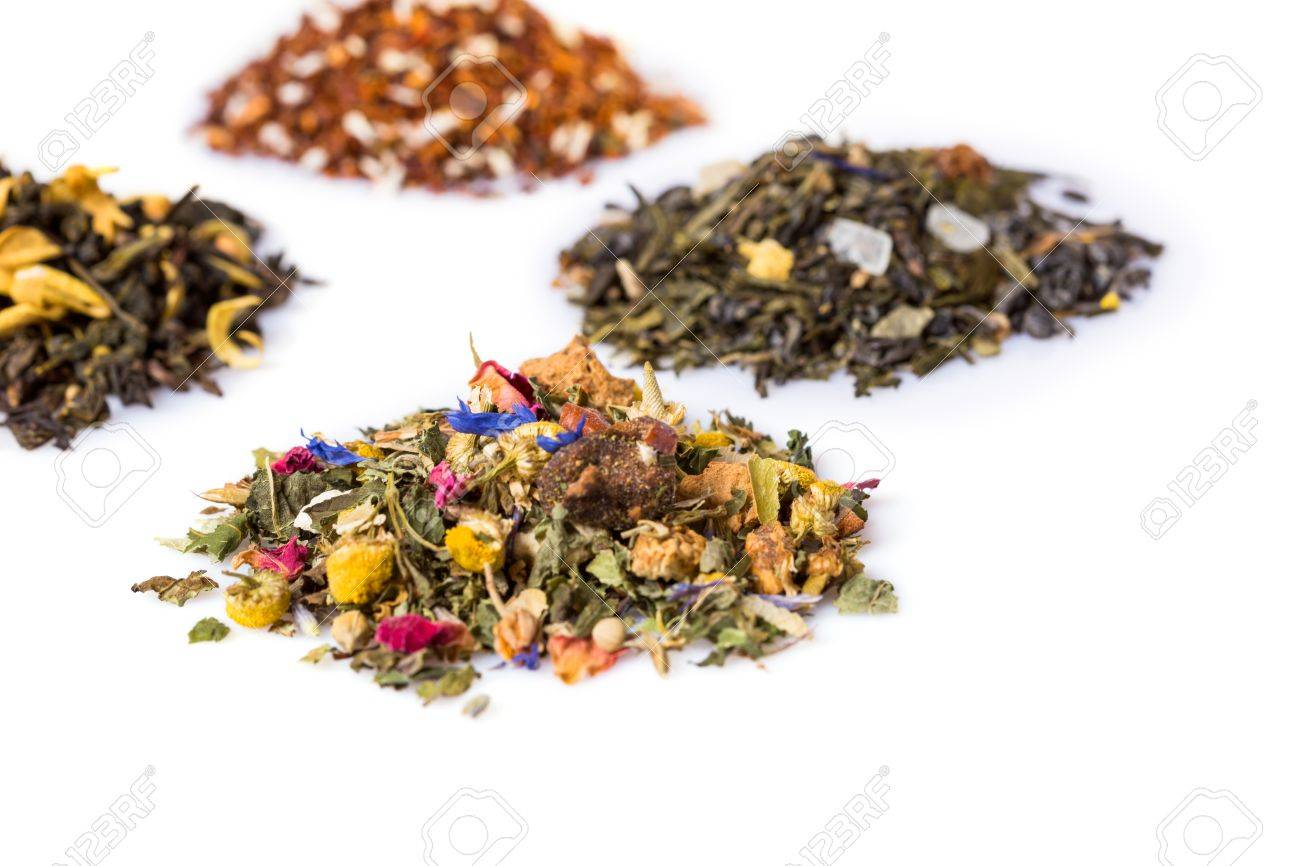Blend gourmet herbal tea - High Angle Still Life Of Variety Of Gourmet Herbal Tea Blends In Separate Piles On White