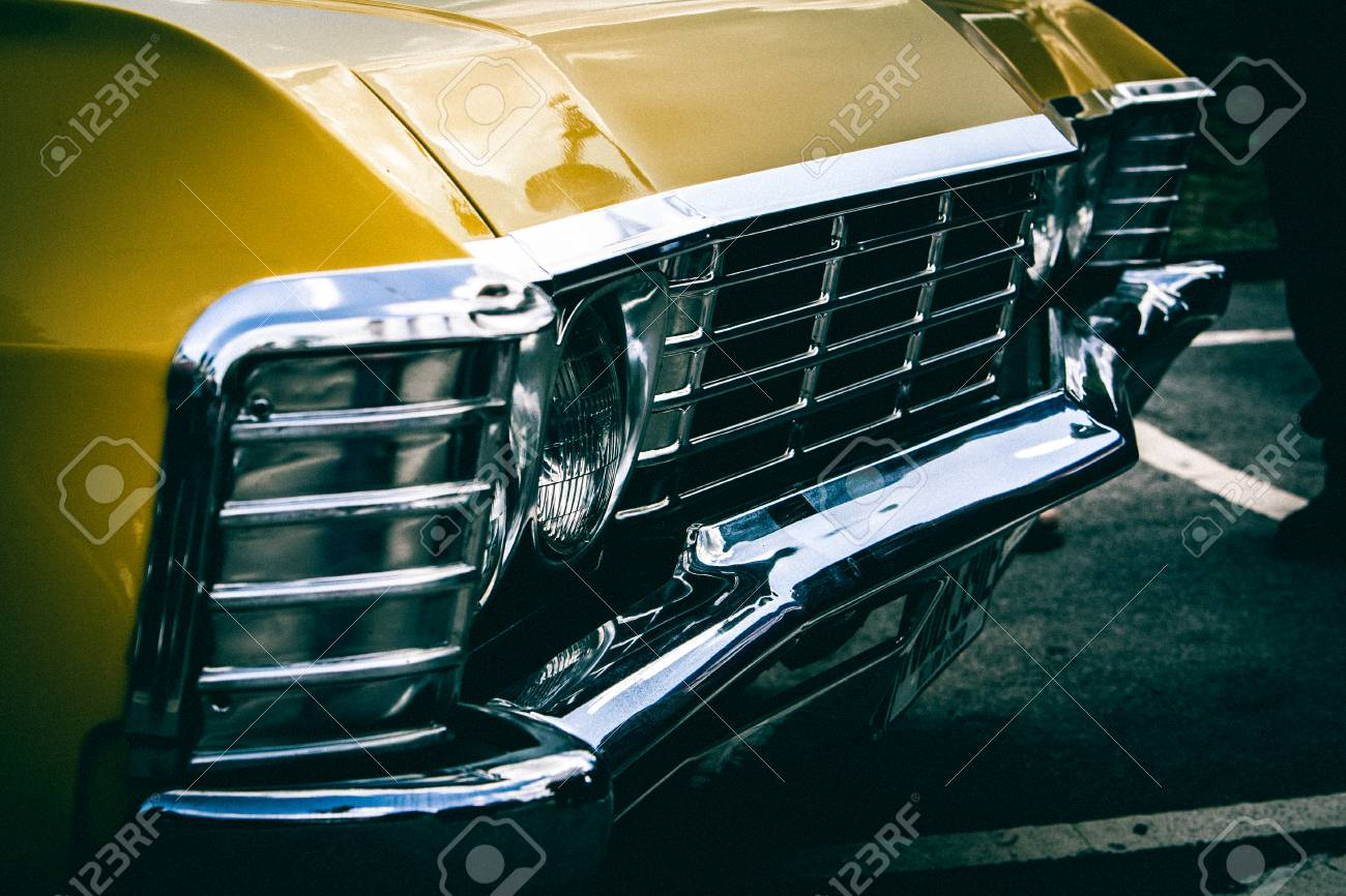 vintage american muscle car. front bumper stock photo, picture and
