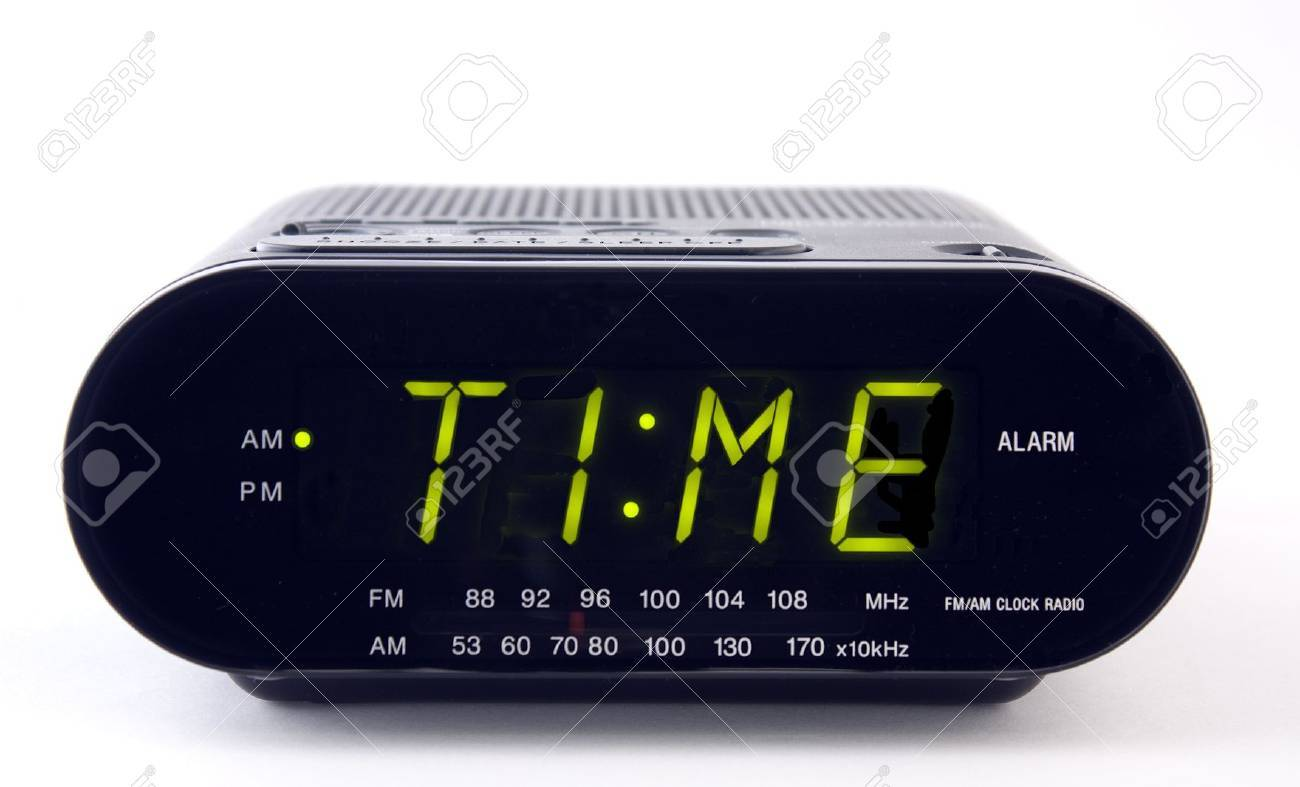 A Clock radio with the word TIME Stock Photo - 8870592