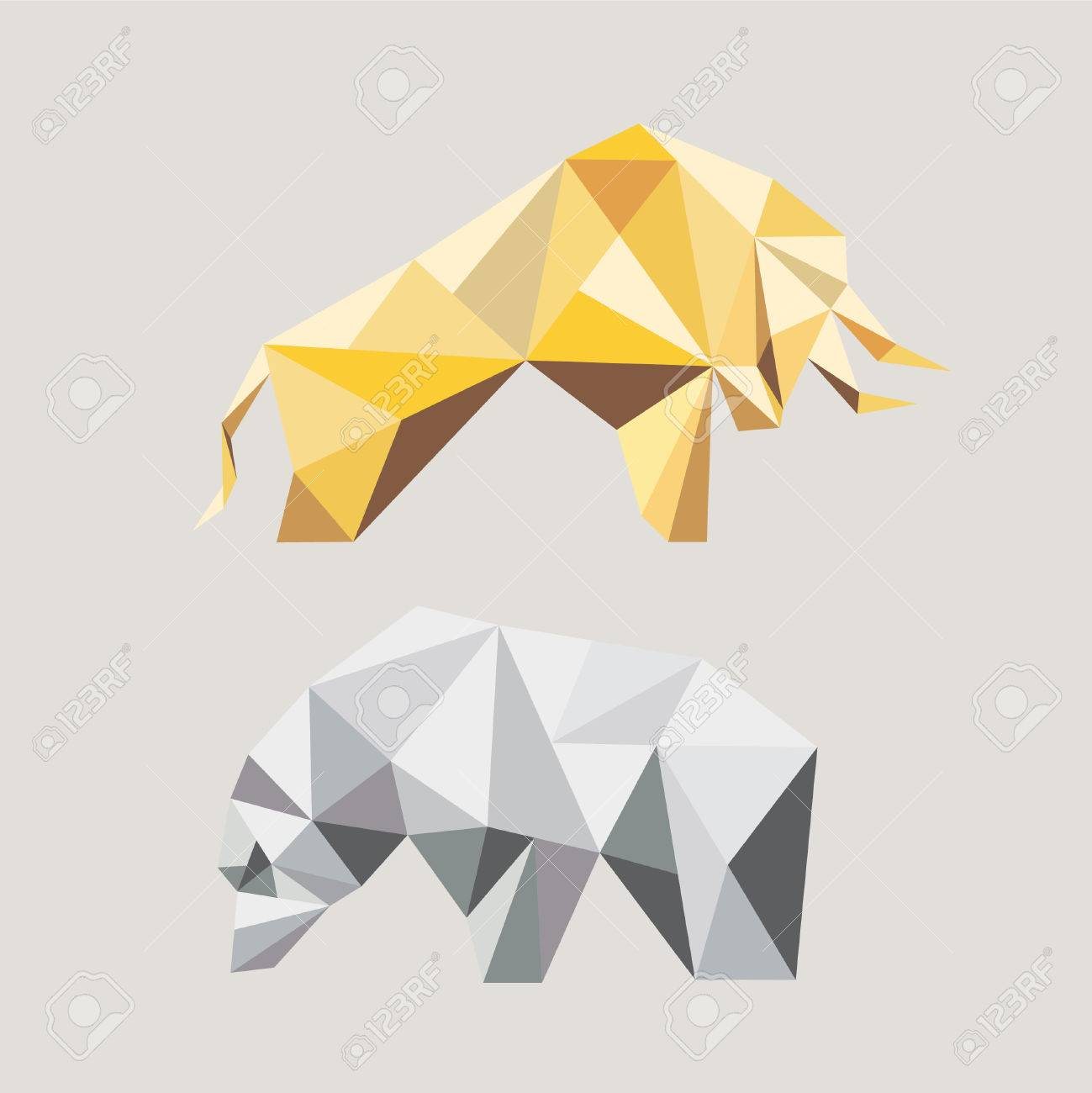 Bull And Bear In The Geometric Style Symbols Of Stock Market