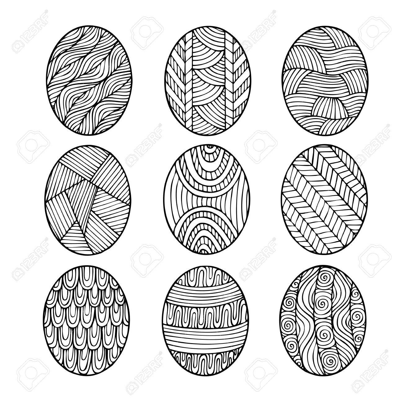 Adult coloring book page design depicting Easter eggs. Coloring..