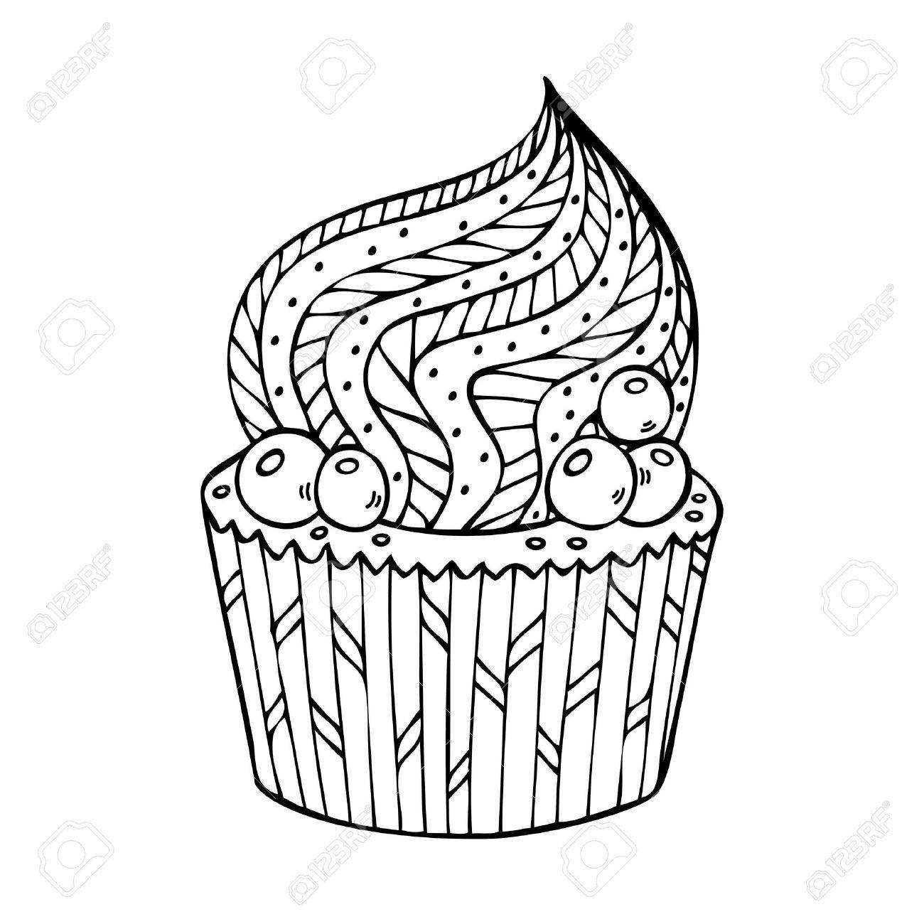 Coloriage Cupcake Adulte A Imprimer.Cupcake A Colorier Pour Les Adultes Coloriage Livre Page Pour Adulte Illustration Vectorielle Dans Le Style De Zentangle Doodle Ethnique Design