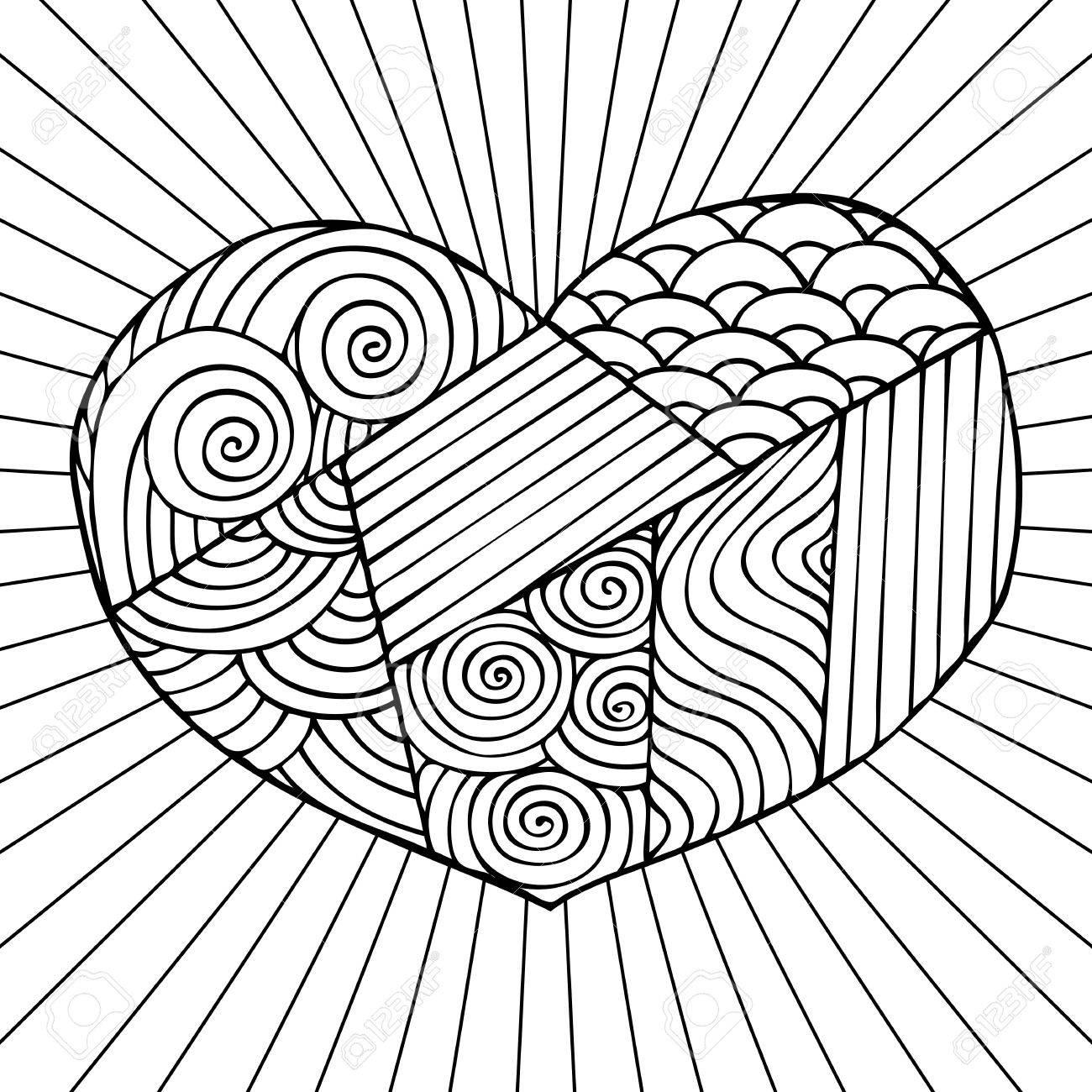 Mano Corazón Dibujado. Diseño Adultos Libro De Colorear Con Una ...