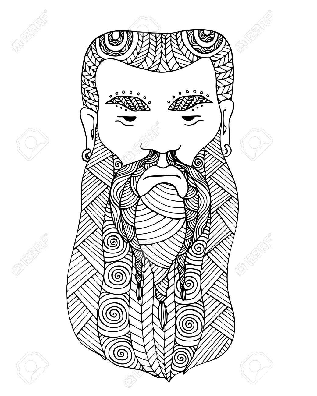 Adult Coloring Book Page Design With The Face Of A Viking Viking