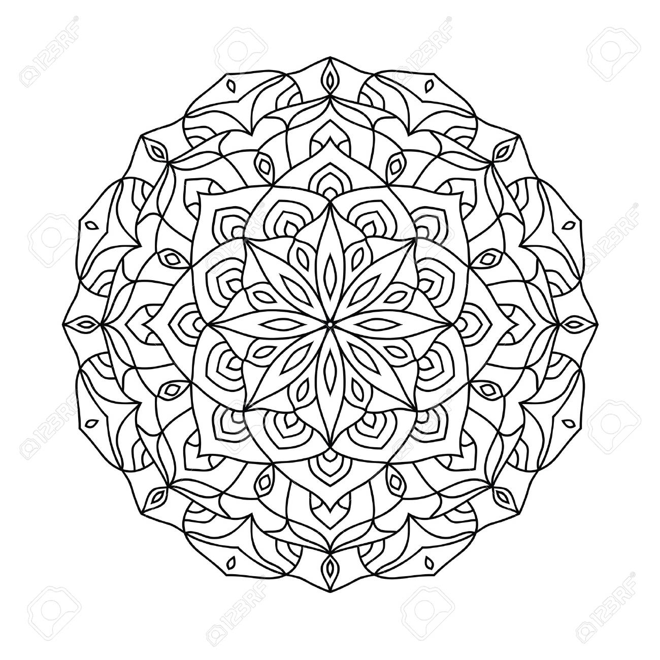 Mandala Coloring Book For Adults. Ethnic Decorative Amulet. Vector ...