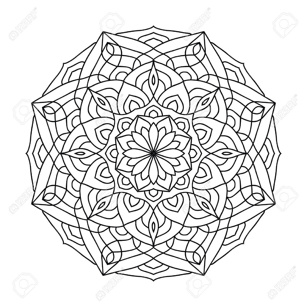 Mandala Coloring Book For Adults Ethnic Decorative Amulet Vector Illustration In Tribal