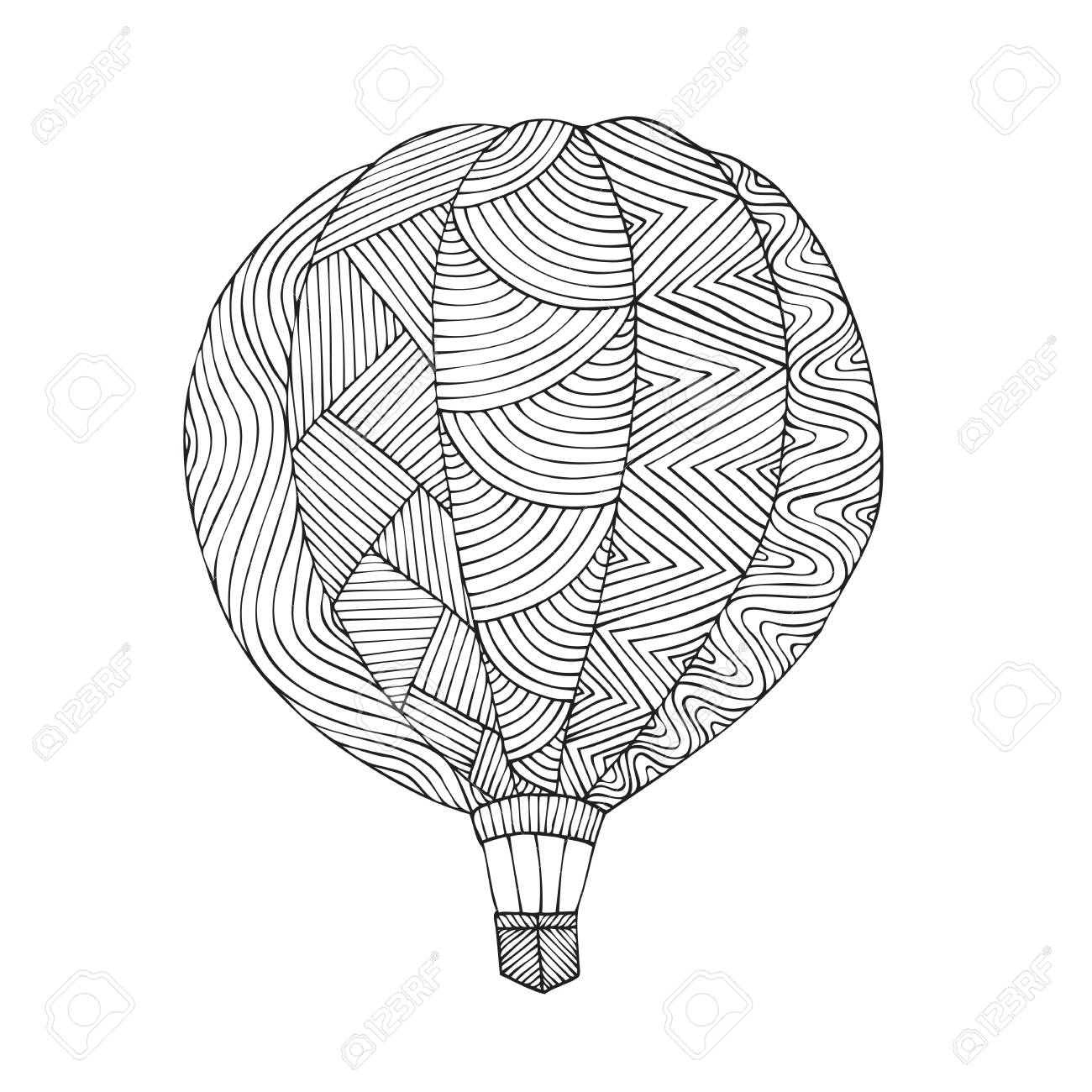 Air Balloon. Coloring Book Page For Adult. Vector Illustration ...