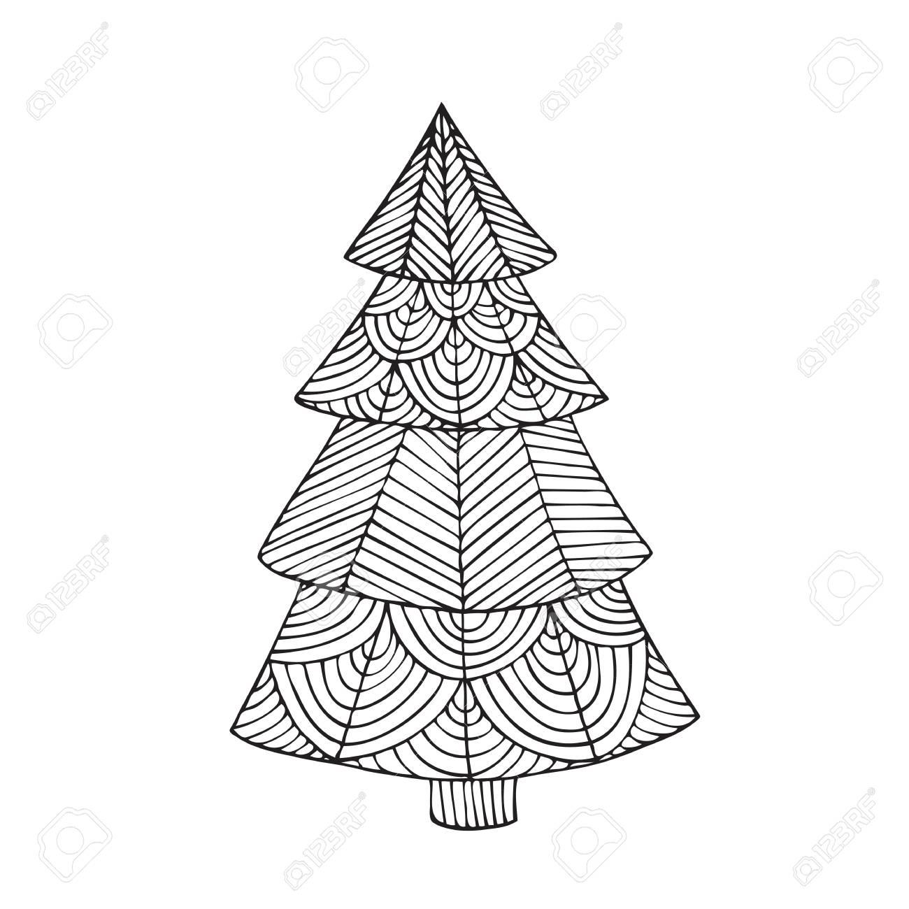 Diseño De Página De Libro De Colorear Para Adultos Con La Imagen De Un árbol De Navidad Página De Libro Para Colorear Para Adulto Ilustración De