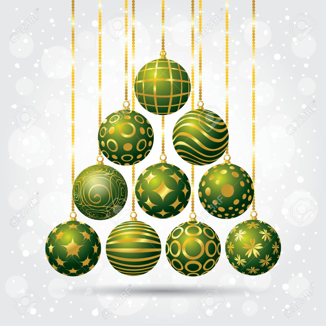 a set of christmas balls new year background with christmas balls vector illustration stock